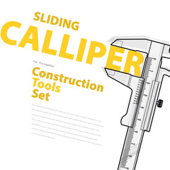 Yellow and orange typography set of wire construction tools – Black and white sliding calliper gauge – flatten illustration master vector – nice catalog page