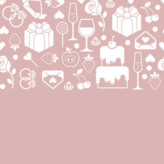 Romantic composition with blank space for text and valentine's day symbols. Horizontal seamless design.