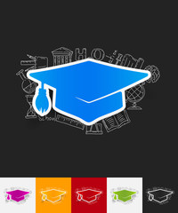 Graduation paper sticker with hand drawn elements