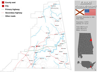 Large and detailed map and infos about Cleburne County in Alabama.