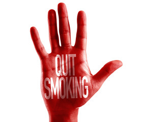 Quit Smoking written on hand isolated on white background