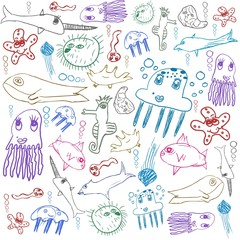sea creatures, child drawing seamless background