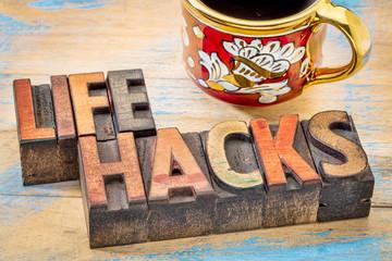 life hacks words in wood type
