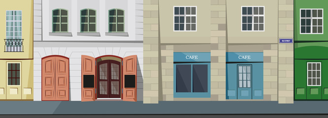 Small panorama street in the historic town. Simple cartoon vector illustration.