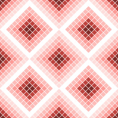 Seamless vector pattern. Symmetrical geometric background with red rhombus. Decorative repeating ornament