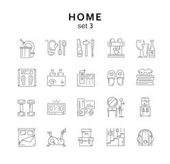 House related icons set 3, home appliance, vector illustration,