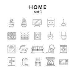Home related icons set1, vector illustration, line icons
