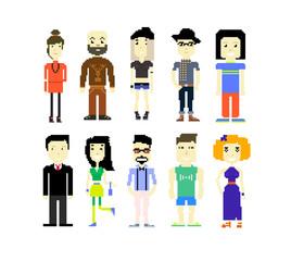 Set of different pixel art characters. Vector pixel people.