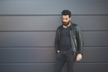 Knee figure young handsome caucasian black hair bearded man lean