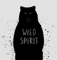 """Silhouette of  bear with """"wild spirit"""" lettering. Vector illustr"""