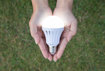 LED Bulb with lighting - saving technology in our hand