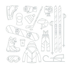 Winter sports objects, equipment collection, vector icons, flat