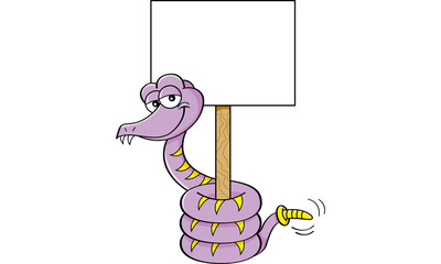 Cartoon illustration of a snake holding a sign.
