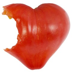 bitten heart shape tomato