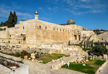 View of the Al Aqsa mosque and Jerusalem Archaeological Park, Is