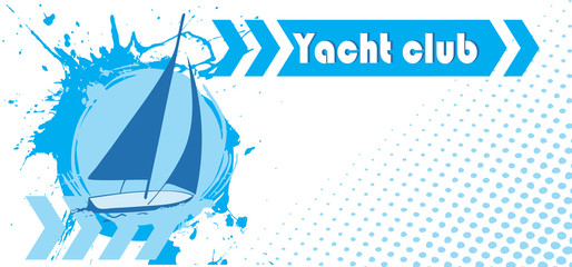Abstract horizontal yacht club banner
