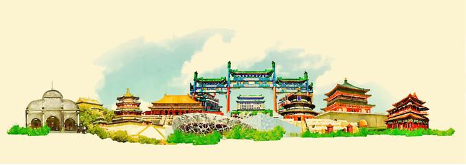 vector watercolor BEIJING city illustration