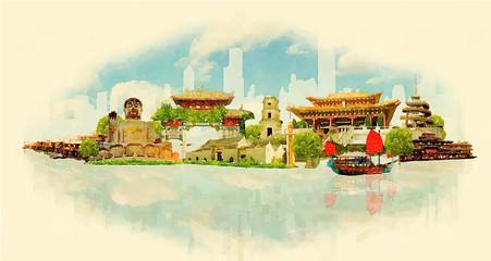 vector watercolor HONK KONG city illustration