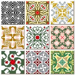 Garden Poster Moroccan Tiles Vintage retro ceramic tile pattern set collection 010