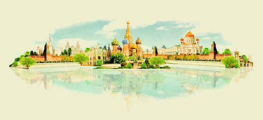 vector watercolor MOSCOW city illustration