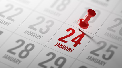 January 24 written on a calendar to remind you an important appo