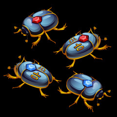 Set of Egyptian beetles with ruby and sapphire
