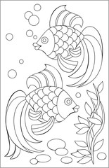 Page with black and white drawing of fishes for coloring. Developing children skills for drawing. Vector image.