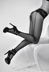 Picture of female model legs in fishnet hosiery