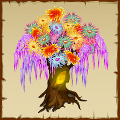 Fairy tree with colorful foliage of flowers