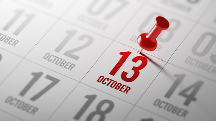 October 13 written on a calendar to remind you an important appo