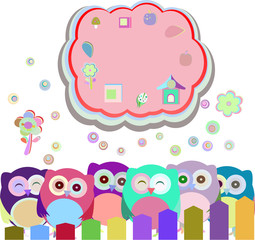 happy owl family with speech bubble, vector illustration