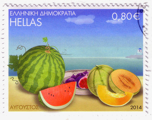 GREECE - CIRCA 2014: A stamp printed in Greece, shows watermelon and melon fruits, circa 2014