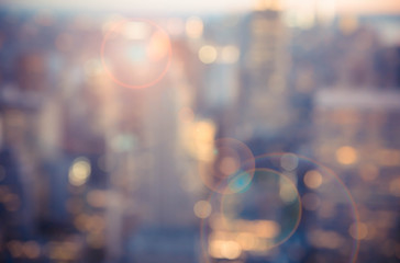 Foto auf Leinwand New York Defocused blur across urban buildings in New York City