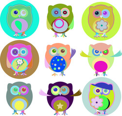 Vector illustration of colorful owls with nine color combinations