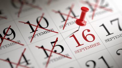 September 16 written on a calendar to remind you an important ap