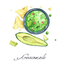 Watercolor Food Painting - Guacamole