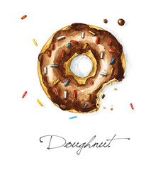 Watercolor Food Painting - Doughnut