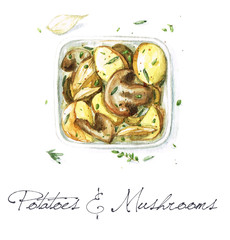 Watercolor Food Painting - Potatoes and Mushrooms