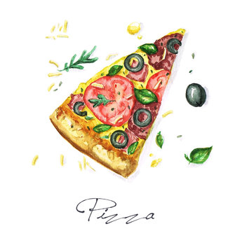 Watercolor Food Painting - Pizza