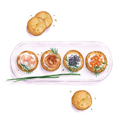 Watercolor Food Painting - Seafood snacks