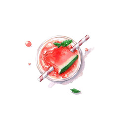Watercolor Food Painting - Watermelon Cocktail