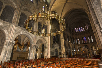 interiors and details of Saint-Remi basilica, Reims, France