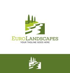 landscape logo for lawn or gardening business, website