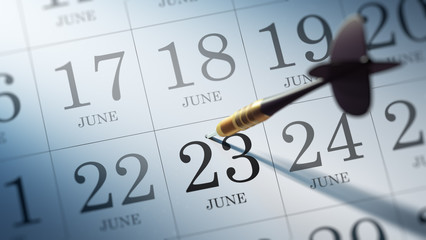 June 23 written on a calendar to remind you an important appoint