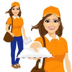hispanic post woman in orange shirt uniform delivering mail with brown leather bag