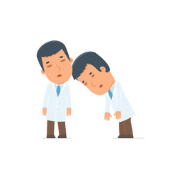 Tired and Exhausted Character Doctor sleeping on the shoulder of
