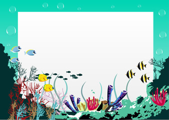 blank board with blue sea underwater background