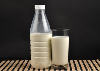 Glass of milk - isolated on black