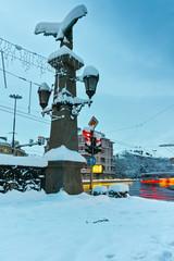 Winter view of eagle bridge over Perlovska river, Sofia, Bulgaria