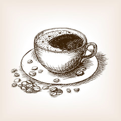 Cup of coffee hand drawn sketch vector